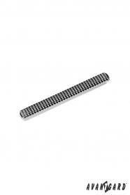 Silberne Krawattenklammer mit schwarzem Muster