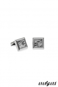 Manschettenknöpfe Silber mit schwarzer Oberfläche