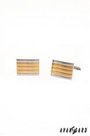 Manschettenknöpfe Silber-goldstreifen
