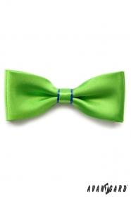 Grüne Fliege mit blauen Streifen und Einstecktuch
