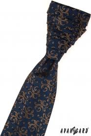Elegante blaue Hochzeitskrawatte gemustert