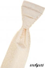 Cremige französische Krawatte mit glänzendem Muster