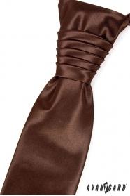Hochzeitskrawatte mit Einstecktuch Schokolade