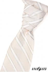 Hochzeitskrawatte beige silberne Streifen