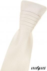 Französische cremefarbene Krawatte mit gestreifter Textur und Einstecktuch