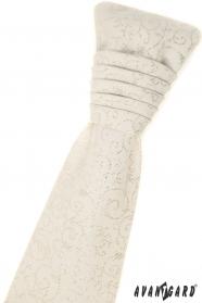 Französische Creme Krawatte mit Einstecktuch - silbernes Muster