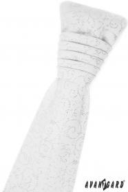 Weiße französische Krawatte mit glänzenden Ornamenten
