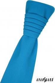 Türkisfarbene französische Krawatte mit Einstecktuch