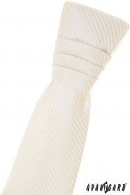 Junge französische Krawatte - cremig mit Streifen