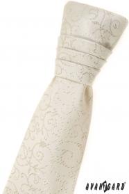 Junge französische Krawatte - cremig mit Muster