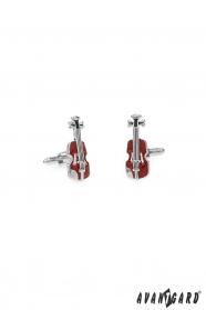 Silberne Manschettenknöpfe Braune Geige
