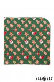 Grünes Einstecktuch mit Weihnachtsmuster