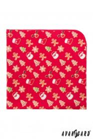 Rotes Einstecktuch mit Weihnachtslebkuchen Motiv