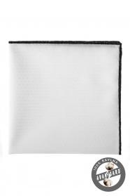 Weißes Einstecktuch 100% Baumwolle schwarz