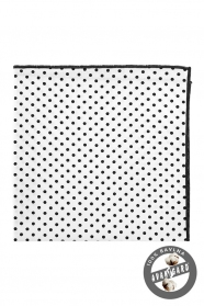 Baumwoll Einstecktuch weiß mit schwarzen Punkten