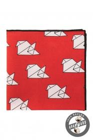 """Baumwoll Einstecktuch rot """"Origami"""""""