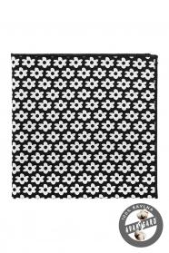 Expressives Einstecktuch schwarz aus Baumwolle - weiße Blumen