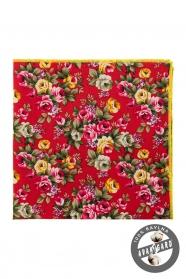 Baumwolle rote Einstecktuch rosa und gelbe Blumen