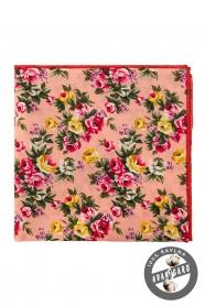 Herren Baumwoll-Einstecktuch rosa und gelbe Blumen