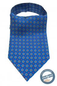 Blauer Ascot mit blau-rotem Muster
