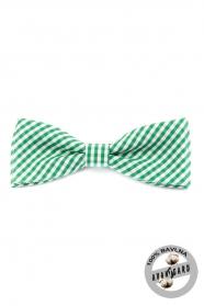 Fliege PREMIUM grün und weiß Würfel-Baumwolle