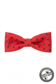 Herrenfliege Baumwolle rot blaue Sterne