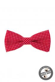 Rote Herren Fliege aus Baumwolle weiße Sterne