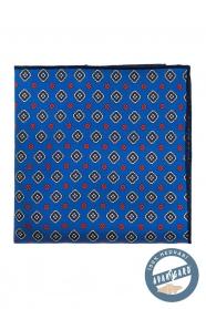 Blaues Seideneinstecktuch mit farbigem Muster