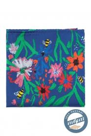 Seiden Einstecktuch Bienen und Blumen