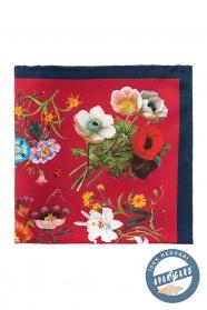 Rotes Einstecktuch aus reiner Seide Blumenstrauß