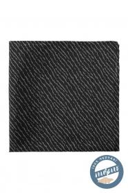 Schwarzes Seideneinstecktuch mit grauem Muster