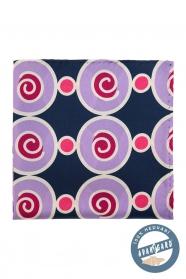 Blaues Seidentaschentuch mit markanten Kreisen