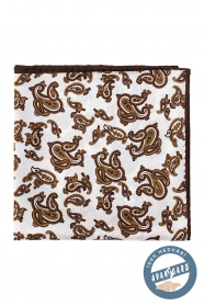 Seiden Einstecktuch braun Paisley-Muster