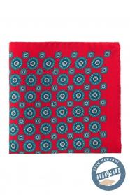 Rotes Seideneinstecktuch mit blauem Muster