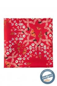 Seiden Einstecktuch mit Blumen und Schmetterlingsmuster - rot