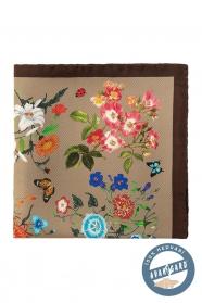 Seiden Einstecktuch mit Blumen und Schmetterlingen - braun, beige