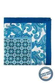Blaues Seiden-Einstecktuch mit Blumenmuster und Würfel