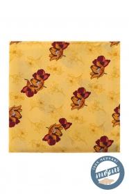 Gelbes Seiden-Einstecktuch braun gemustert