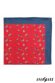 Rotes Einstecktuch mit blauem Rand kleine Blumen