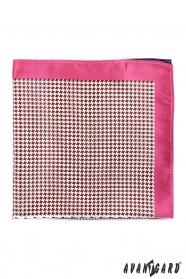 Herren Einstecktuch mit rosafarbenem Rand