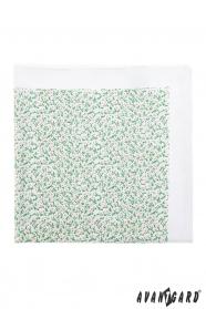 Herren Einstecktuch weiß - kleine grün-rosa Blumen