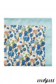 Herren Polyester-Einstecktuch mit blauen Blumen