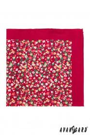 Einstecktuch Rot mit kleinen Blumen