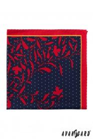 Einstecktuch dunkelblau rot Blumen