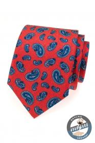 Rote Krawattte mit blauen Paisley-Motiven