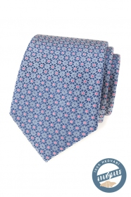 Seidenkrawatte mit blau-rosa Muster