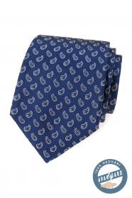 Blaue Seidenkrawatte mit kleinem Paisley-Muster