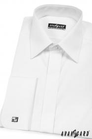 Herren Hemd  verdeckte Knopfleiste für MK  Weiß