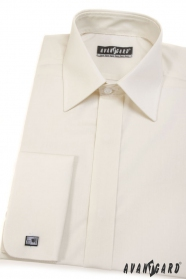 Herren Hemd verdeckte Knopfleiste beige glatt