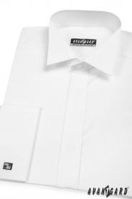 Smokinghemd verdeckte Knopfleiste für MK weiß